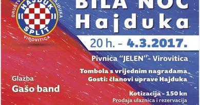 U Pivnici Jelen održati će se virovitička Bila noć Hajduka